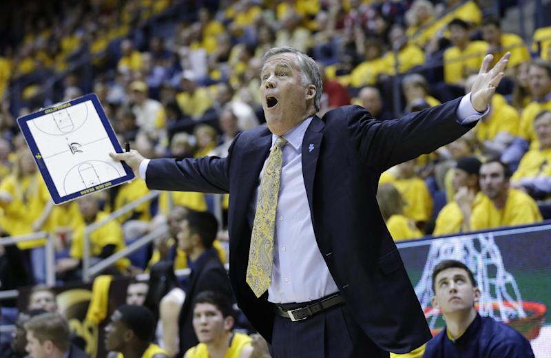 California head coach Mike Montgomery argues a call as his team plays Arizona during the first half on an NCAA college basketball game on Saturday, Feb. 1, 2014, in Berkeley, Calif. (AP Photo/Marcio Jose Sanchez)