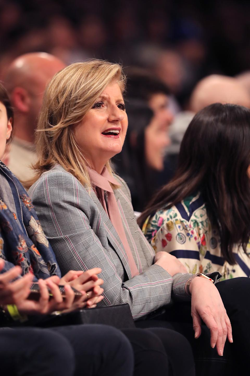 Arianna Huffington attends game three of Round One of the 2019 NBA Playoffs between the Brooklyn Nets and the Philadelphia 76ers at Barclays Center on April 18, 2019 in the Brooklyn borough of New York City. (Photo by Elsa/Getty Images)