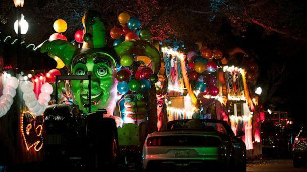 PHOTO: Vehicles line up to view Mardi Gras floats at the Float in the Oaks event in City Park, Feb. 14, 2021, in New Orleans, Louisiana. (Jon Cherry/Getty Images)