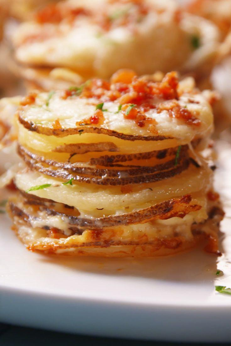 """<p>These cute apps seriously class up the classic casserole.</p><p>Get the recipe from <a href=""""https://www.delish.com/cooking/recipe-ideas/recipes/a49447/potato-gratin-stacks-recipe/"""" rel=""""nofollow noopener"""" target=""""_blank"""" data-ylk=""""slk:Delish"""" class=""""link rapid-noclick-resp"""">Delish</a>.</p>"""