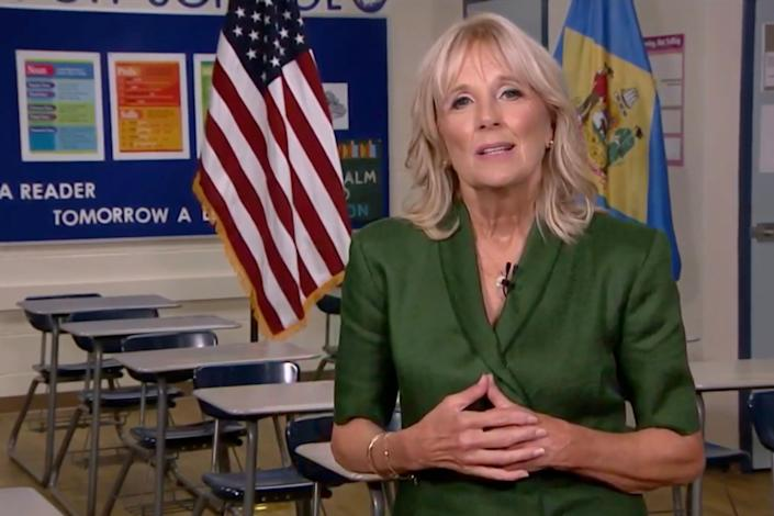 Jill Biden addresses the Democratic National Convention from a classroom during an Aug. 18, 2020, livestream. (Photo: Democratic National Convention Committee via Getty Images)