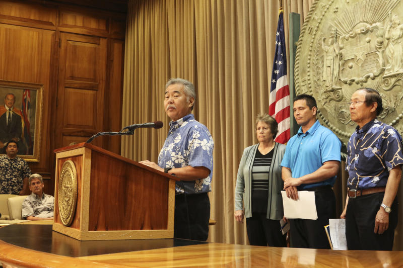 Hawaii Gov. David Ige speaks during a news conference about the construction of a new Big Island telescope, Wednesday, July 10, 2019 in Honolulu. Construction of the telescope will start again next week after lengthy court battles and passionate protests from those who say building it on Hawaii's tallest mountain will desecrate land sacred to some Native Hawaiians. (AP Photo/Jennifer Sinco Kelleher)