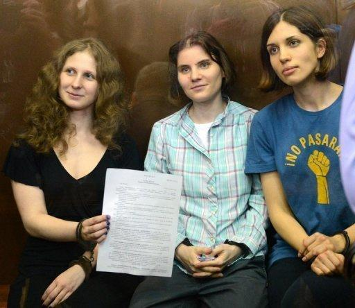 The three members of Pussy Riot were last month sentenced to two years in a labour camp for hooliganism
