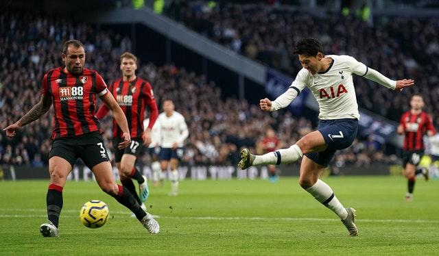 Son Heung-min, right, has a shot on goal (John Walton/PA)