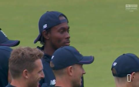 <span>Jofra about to get his cap</span> <span>Credit: Sky Sports </span>