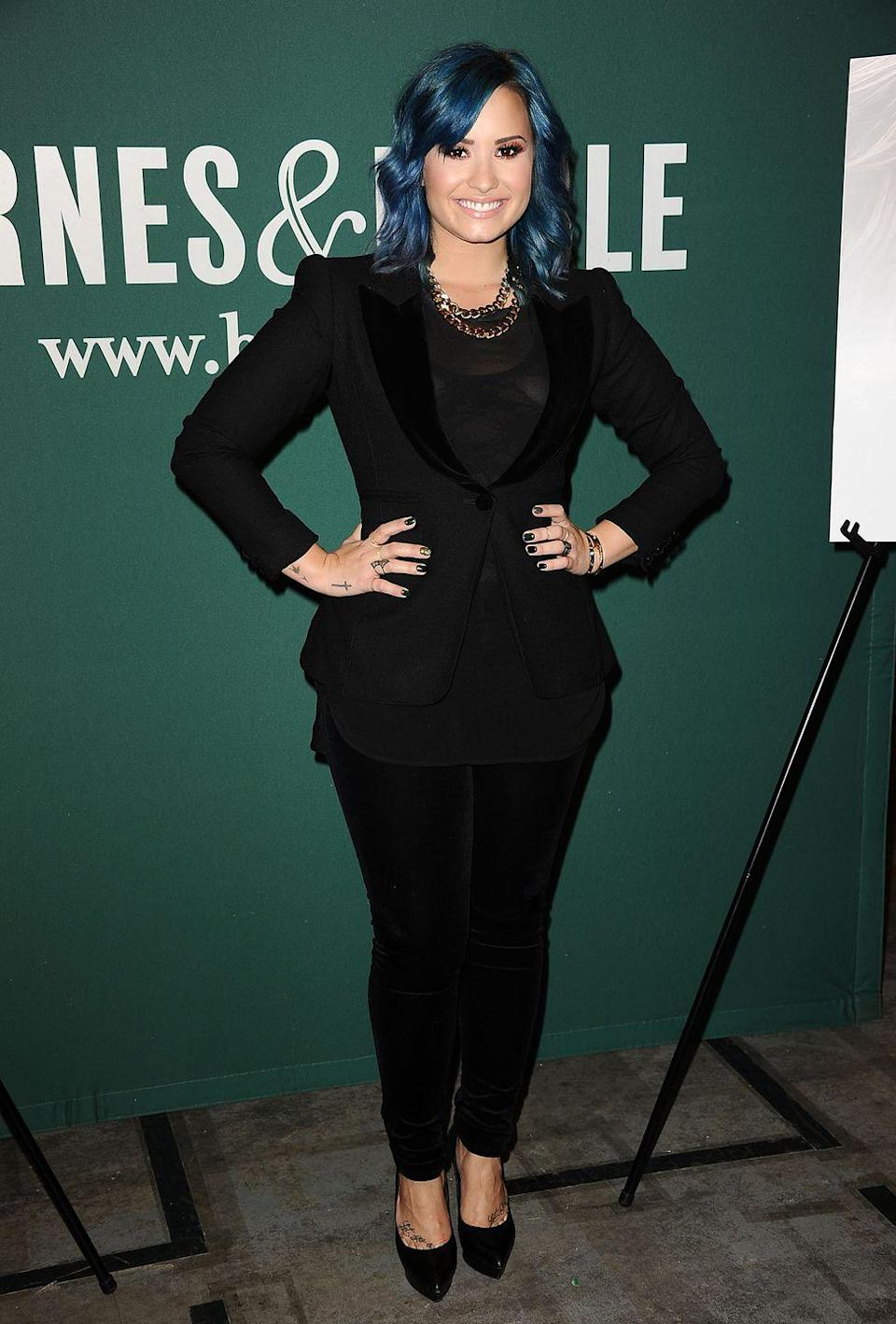 """<p>""""We will see a lot of solid colors, but in untraditional colors,"""" says Mazzei. Look for blues like Demi Lovato's, plus reds, pinks, and icy silver. </p>"""