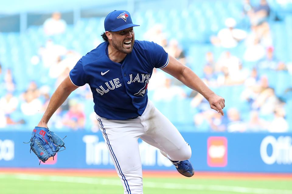 Toronto, ON- September 15  -  Toronto Blue Jays starting pitcher Robbie Ray (38) pitched seven innings to get the win as Toronto Blue Jays beat the Tampa Bay Rays 6-3 at Rogers Centre in Toronto. September 15, 2021.        (Steve Russell/Toronto Star via Getty Images)