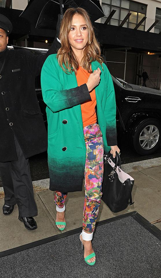 """Jessica Alba, who gave birth to her second daughter, Haven, in August, and is also mom to 3-year-old Honor, was gorgeous as ever, although her busy ensemble was questionable, as she arrived at the studios of """"Live! With Kelly"""" in NYC. The California girl chose colorful pants and an orange blouse topped off by green accessories. (01/17/2012)"""