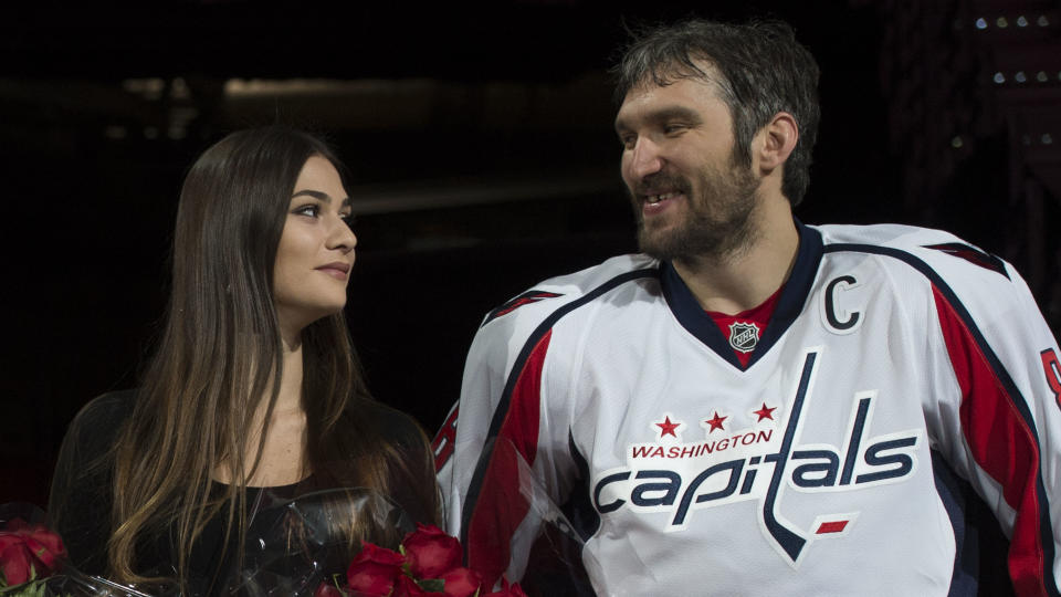 Alexander Ovechkin's wife Nastya Shubskaya took umbrage with the notion that her husband should be held responsible for the Washington Capitals' COVID-19 outbreak. (AP/Molly Riley)