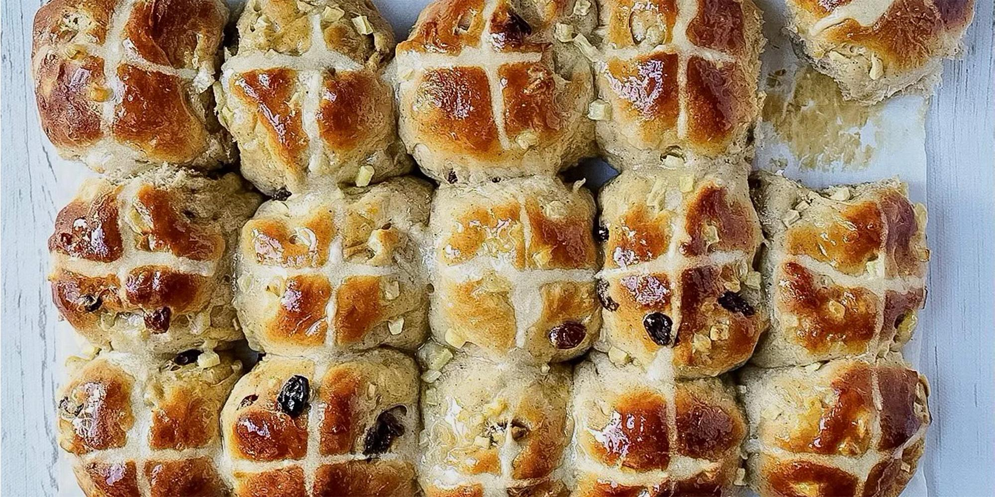 Vallery Lomas makes hot cross buns for Good Friday — and bread pudding for Easter