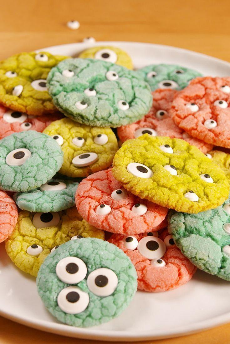 """<p>A hit for kids and adults alike, these not-so-scary monster cookies are soft and so cute. </p><p><em><a href=""""https://www.delish.com/cooking/recipe-ideas/recipes/a54348/monster-cookies-recipe/"""" rel=""""nofollow noopener"""" target=""""_blank"""" data-ylk=""""slk:Get the recipe from Delish »"""" class=""""link rapid-noclick-resp"""">Get the recipe from Delish »</a></em><br></p>"""
