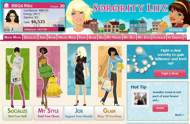 sorority life on myspace and facebook