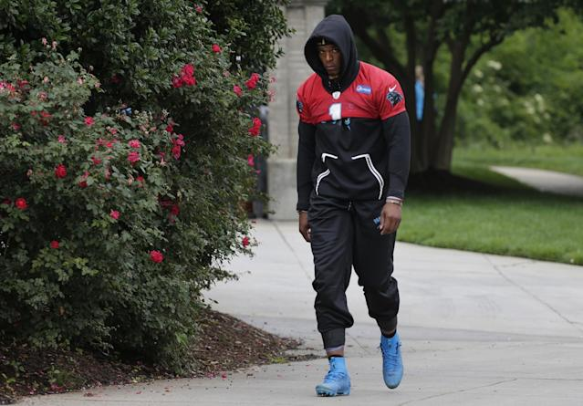 Cam Newton will not throw at the Carolina Panthers' mandatory minicamp, the team announced. (AP)