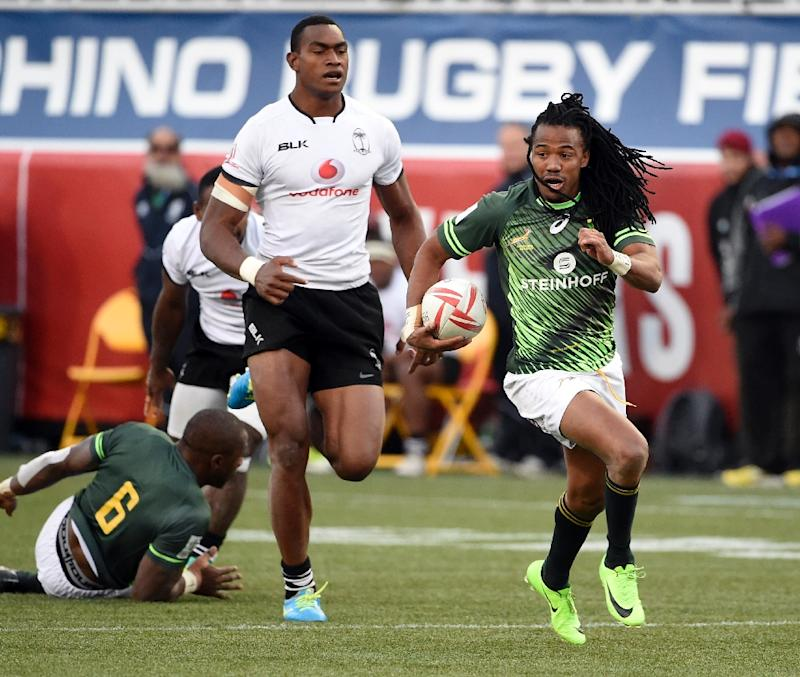 Cecil Afrika of South Africa runs with the ball in the final match against Fiji, on day three of the USA Rugby Sevens tournament, part of the World Rugby Sevens Series, in Las Vegas, Nevada, on March 5, 2017