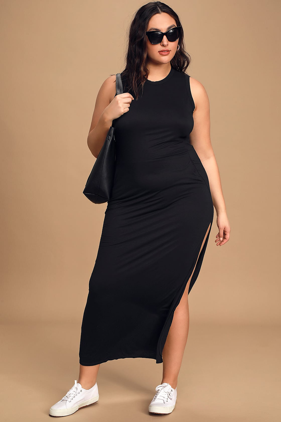 """<h2>Lulus Shield & Sword Black Sleeveless Maxi Dress With Pockets </h2><br><strong><h3>Best Flexible Plus-Size Dress</h3></strong><br><strong>Sizes Available: 1X-3X </strong><br>This frock nets both the more elevated and more casual look depending on how you style it. The thick, stretchy fabric provides comfort and coverage while the side slit adds a bit of flirty allure. Pair it with sneakers or a solid pump, depending on the vibe.<br><br>""""I'm so in love with the dress!!! I've bought so many things from here & every time you amaze me with how well the fit is & how good quality it is. The material doesn't feel cheap at all!! Well-made! So happy you guys are starting to do extended sizes!!""""<em> – Amoreena C., Size 1X</em><br><br><em>Shop <strong><a href=""""https://www.lulus.com/products/shield-and-sword-black-sleeveless-maxi-dress-with-pockets/222674.html"""" rel=""""nofollow noopener"""" target=""""_blank"""" data-ylk=""""slk:Lulus"""" class=""""link rapid-noclick-resp"""">Lulus</a></strong></em><br><br><strong>Lulus</strong> Shield and Sword Black Sleeveless Maxi Dress With Pockets, $, available at <a href=""""https://go.skimresources.com/?id=30283X879131&url=https%3A%2F%2Fwww.lulus.com%2Fproducts%2Fshield-and-sword-black-sleeveless-maxi-dress-with-pockets%2F222674.html"""" rel=""""nofollow noopener"""" target=""""_blank"""" data-ylk=""""slk:Lulus"""" class=""""link rapid-noclick-resp"""">Lulus</a>"""