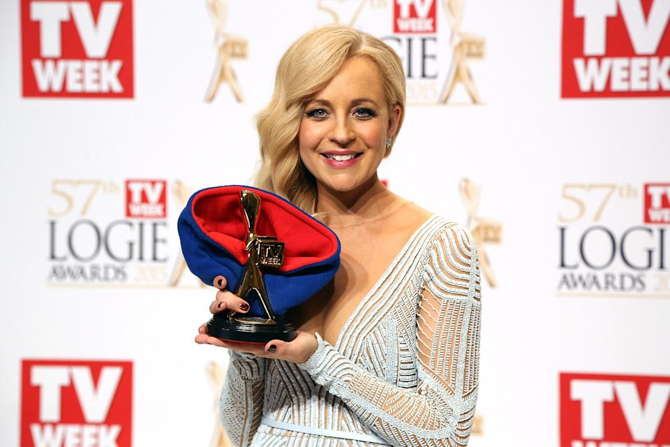 Carrie Bickmore poses in the awards room after winning the Gold Logie for Most Popular Personality On TV at the 57th Annual Logie Awards at Crown Palladium on May 3, 2015 in Melbourne, Australia