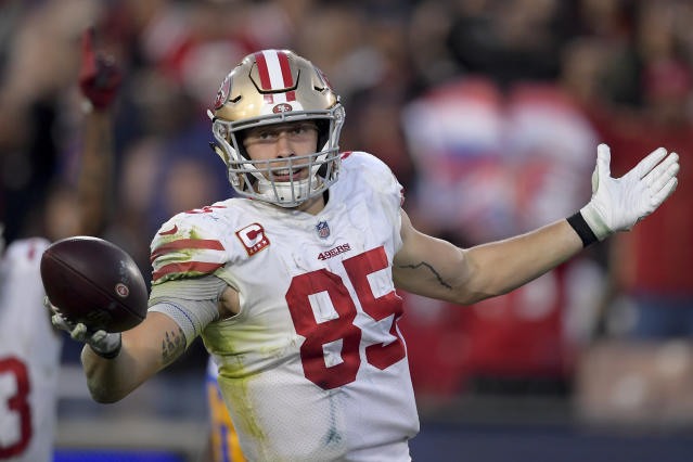49ers tight end George Kittle broke Chiefs' Travis Kelce's receiving yards record among tight ends minutes after Kelce set it. (AP Photo/Mark J. Terrill)