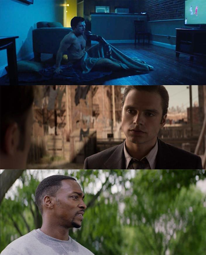the falcon and the winter soldier 101 detail bucky sleeping on the floor