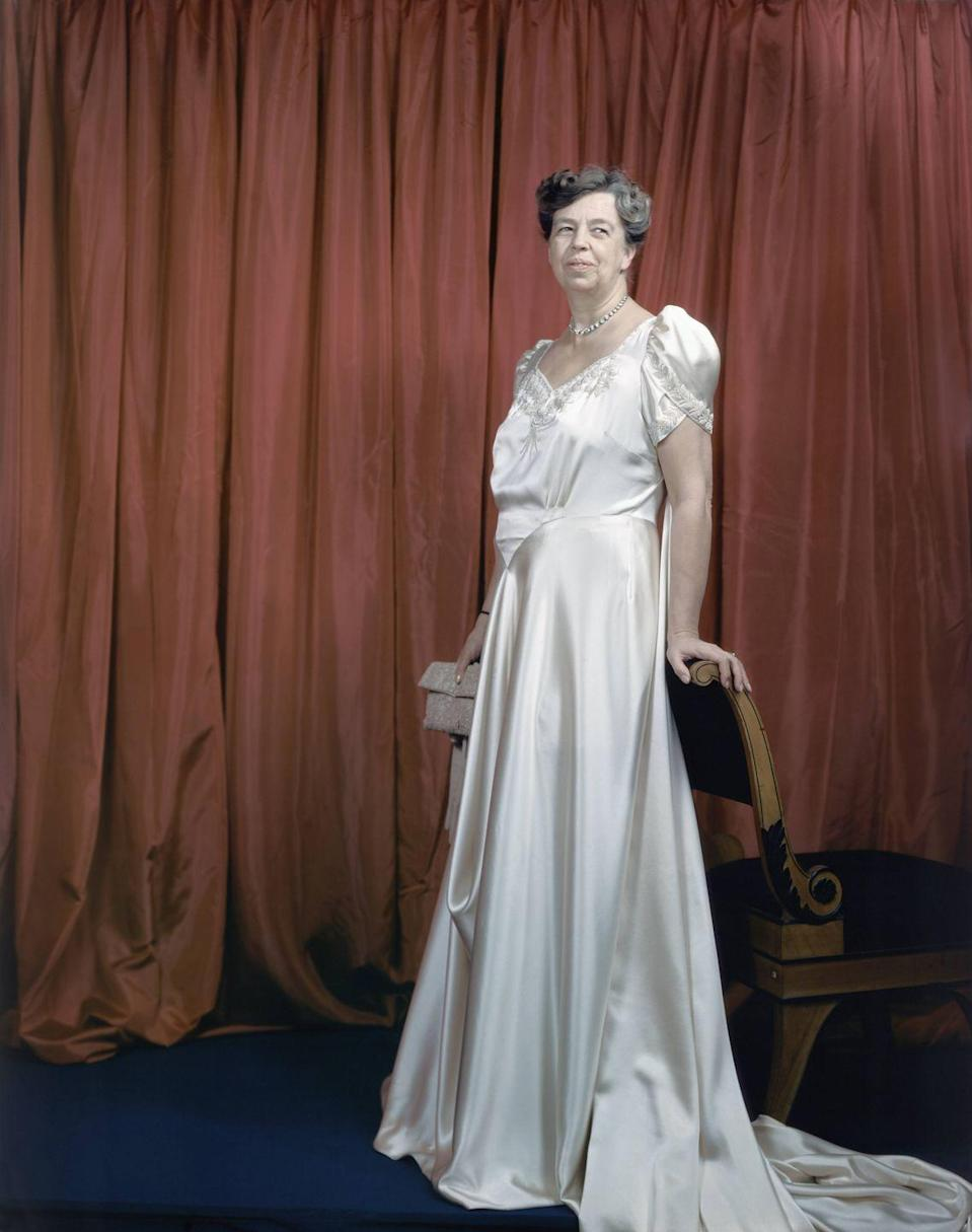 <p>Eleanor Roosevelt poses once again—this time almost 10 years later at the start of her husband's fourth term—in a white silk ball gown for the inaugural ball in 1945.<br></p>
