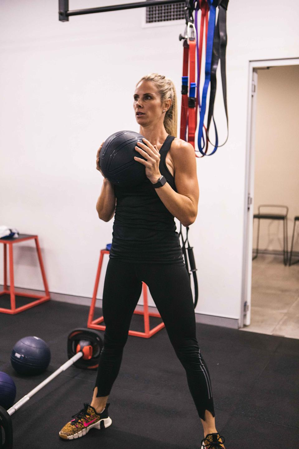 Candice Warner working out at F45