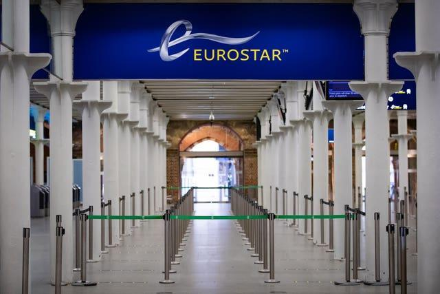 The Eurostar terminal at St Pancras International Station, London (Aaron Chown/PA)