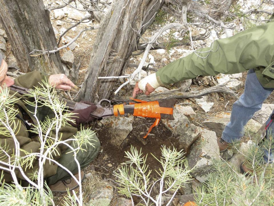 A Winchester Model 1773 found by park workers in Great Basin National Park, Nevada, in November 2014, is shown in this handout photo provided by U.S. Park Services January 15, 2015. Archaeologists stumbled upon the 132-year old rifle, leaning against a tree while conducting a survey in the park, possibly having been left there more than a century ago. REUTERS/U.S. Park Service/Handout via Reuters (UNITED STATES - Tags: SOCIETY)ATTENTION EDITORS - FOR EDITORIAL USE ONLY. NOT FOR SALE FOR MARKETING OR ADVERTISING CAMPAIGNS. THIS PICTURE WAS PROVIDED BY A THIRD PARTY. REUTERS IS UNABLE TO INDEPENDENTLY VERIFY THE AUTHENTICITY, CONTENT, LOCATION OR DATE OF THIS IMAGE. THIS PICTURE IS DISTRIBUTED EXACTLY AS RECEIVED BY REUTERS, AS A SERVICE TO CLIENTS
