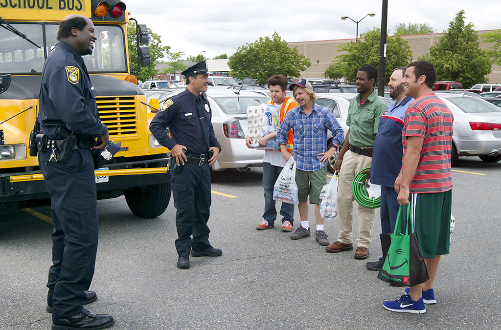 Tommy (Shaquille O'Neal), Dante (Peter Dante), Nick (Nick Swardson), Marcus Higgins (David Spade), Kurt McKenzi (Chris Rock), Eric Lamonsoff (Kevin James), and Lenny Feder (Adam Sandler) in Columbia Pictures' GROWN UPS 2.
