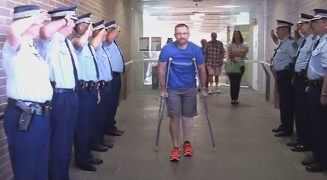 Senior Constable Warburton was given a hero's salute by colleagues today. Photo: 7 News