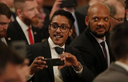 Right wing online activist Ali Alexander attends U.S. President Trump's social media forum at the White House in Washington