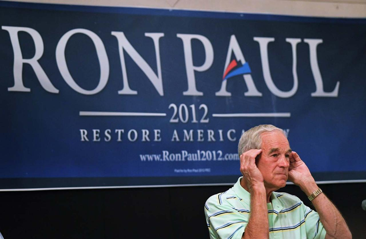 CEDAR RAPIDS, IA - AUGUST 10: Texas Congressman and Republican presidential hopeful Ron Paul listens to a question during a campaign stop  August 10, 2011 in Cedar Rapids, Iowa. Most of the candidates hoping to receive the Republican presidential nomination are crisscrossing Iowa this week hoping to gain support in front of the Republican party debate and the Iowa Straw Poll.  (Photo by Scott Olson/Getty Images)