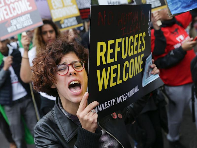 A march calling for the British Government to resettle more refugees in central London on September 17, 2016. (AFP/Getty Images)