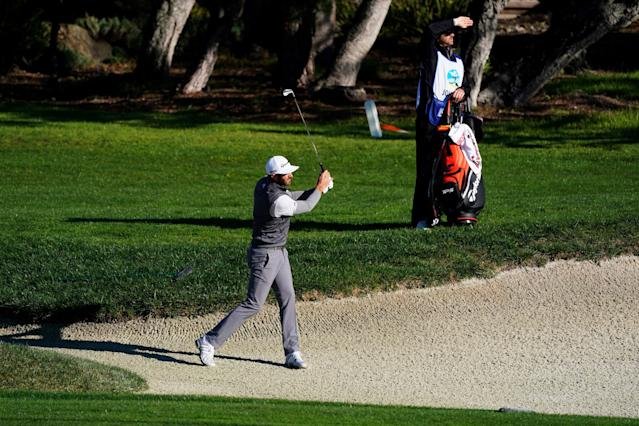 """<div class=""""caption""""> Johnson has history at Pebble, but said there wasn't much to learn this week ahead of the U.S. Open in June. </div> <cite class=""""credit"""">Cliff Hawkins/Getty Images</cite>"""