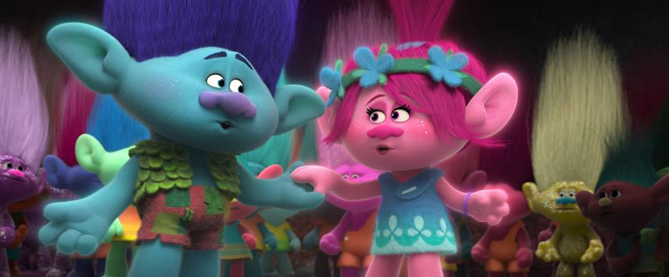 "Branch (voiced by Justin Timberlake, left) sings ""True Colors"" to Poppy (Anna Kendrick) in ""Trolls."""