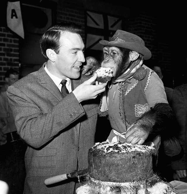 Jimmy Greaves meeting Linda the chimpanzee in 1964