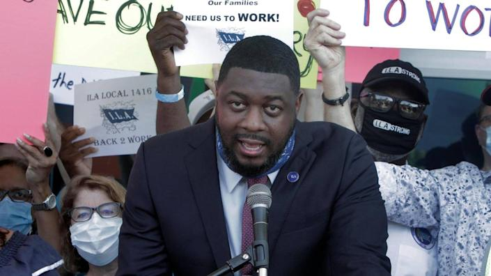 President of I.L.A. Local 1416, Torin Ragin speaks to a gathering of longshoremen and travel agents during a rally on Monday, September 28, 2020, at PortMiami Terminal D to urge the CDC to lift the no-sail order for cruising and allow the industry to restart.