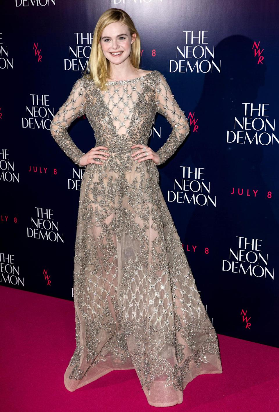 <p>Wearing a semi-sheer dress from the Elie Saab spring 2016 couture line, the 18-year-old looked divine at the premiere of her new flick in London this week. A budding style maven to watch, we reckon… <i>[Photo: Rex Features]</i></p>