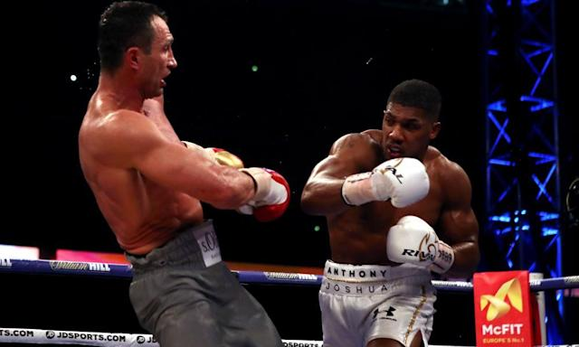 "<span class=""element-image__caption"">Anthony Joshua, right, knocks Wladimir Klitschko back during their bout at Wembley on 29 April 29.</span> <span class=""element-image__credit"">Photograph: Nick Potts/PA</span>"