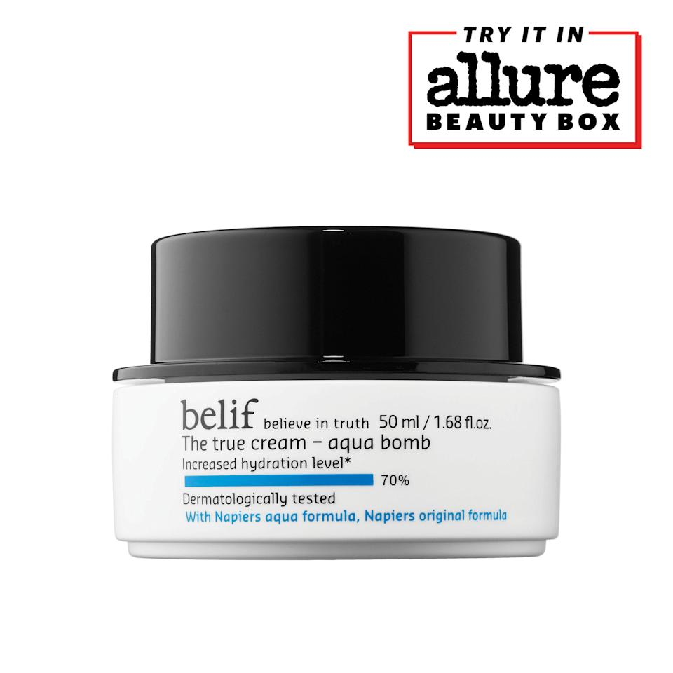 """<p>The Belif The True Cream Aqua Bomb has a light gel-like texture that absorbs in seconds, gives skin a rush of hydration, and helps it look smoother. The K-beauty staple is formulated with calming ingredients, including calendula and oat kernel extracts, to soothe skin as it hydrates.</p> <p>We love it so much we added it to our <a href=""""https://beautybox.allure.com/?source=EDT_ALB_EDIT_GALLERYINCL_0_SEPT_ACURE_ZZ"""" rel=""""nofollow noopener"""" target=""""_blank"""" data-ylk=""""slk:September 2021 Allure Beauty Box lineup"""" class=""""link rapid-noclick-resp"""">September 2021 <em>Allure</em> Beauty Box lineup</a>. You can score the <a href=""""https://beautybox.allure.com/?source=EDT_ALB_EDIT_GALLERYINCL_0_SEPT_ACURE_ZZ"""" rel=""""nofollow noopener"""" target=""""_blank"""" data-ylk=""""slk:Allure Beauty Box here"""" class=""""link rapid-noclick-resp""""><em>Allure</em> Beauty Box here</a> for access to even more editor favorites — for just $23.</p>"""