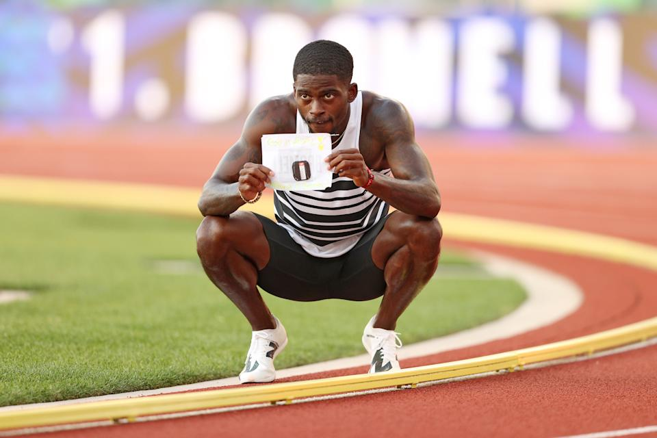Trayvon Bromell (pictured) reacts after winning the Men's 100 Meter Final on day three of the 2020 US Olympic Track & Field Team Trials.