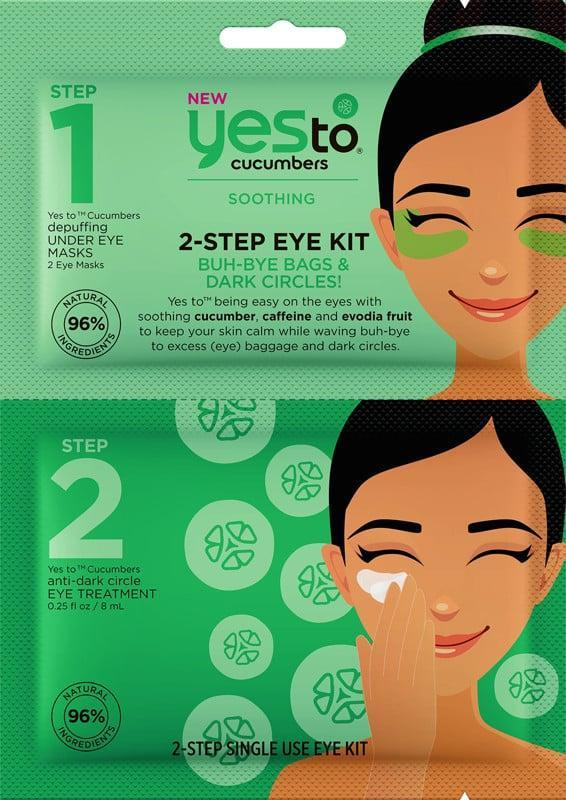 """<p>""""I live for the <span>Yes to Cucumbers 2-Step Eye Kit Buh-Bye Bags and Dark Circles</span> ($4). I have bags under my eyes and it really helps to even the skin tone out. It works to decrease puffiness and smooth the delicate skin around the eyes. It works for me, and helps to minimize dark circles and brightens my eyes and gives them a glow. I can't live without this product."""" - <a href=""""https://www.instagram.com/mikkietiquira/?hl=en"""" class=""""link rapid-noclick-resp"""" rel=""""nofollow noopener"""" target=""""_blank"""" data-ylk=""""slk:Mikkie Tiquir'a"""">Mikkie Tiquir'a</a>, celebrity body-contouring specialist</p>"""
