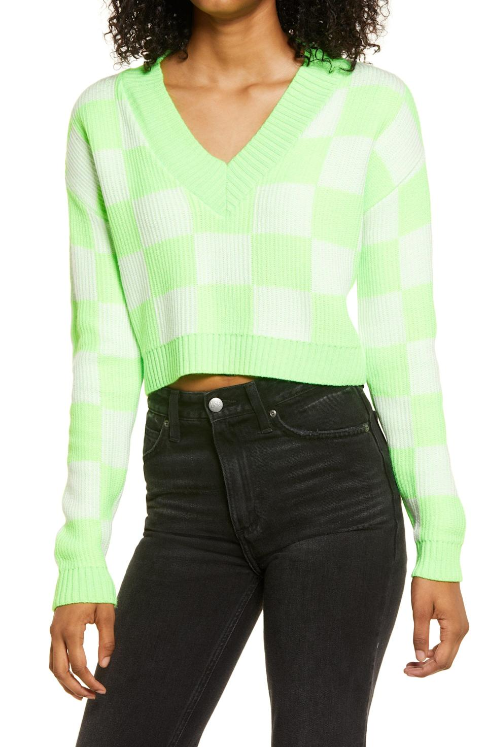 """<p><strong>BP</strong></p><p>nordstrom.com</p><p><strong>$24.75</strong></p><p><a href=""""https://go.redirectingat.com?id=74968X1596630&url=https%3A%2F%2Fwww.nordstrom.com%2Fs%2Fbp-check-v-neck-crop-sweater%2F5920559&sref=https%3A%2F%2Fwww.womenshealthmag.com%2Flife%2Fg36999215%2Fviral-tiktok-items-nordstrom-sale%2F"""" rel=""""nofollow noopener"""" target=""""_blank"""" data-ylk=""""slk:Shop Now"""" class=""""link rapid-noclick-resp"""">Shop Now</a></p><p>Minimalism and neutral colors will always be cool and effortlessly chic, but as fashion starts to embrace brighter, bolder shades, TikTok has gone crazy over this sweater. </p><p>The cropped silhouette, v-neck, and neon green make it a fun take on that cozy old sweater you stole from your dad in college (was that just me?). </p>"""