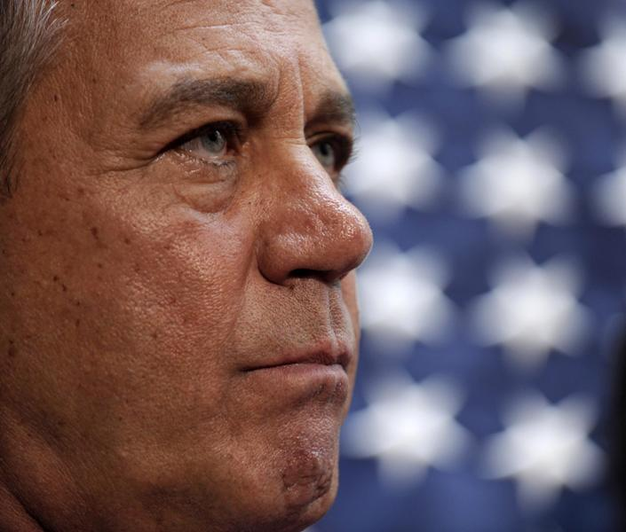 House Speaker John Boehner of Ohio listens during a news conference on Capitol Hill in Washington, Thursday, Oct. 10, 2013, following a meeting with House Republicans. Boehner said Republicans will advance legislation to temporarily extend the government's ability to borrow to meet its obligations. (AP Photo/Susan Walsh)