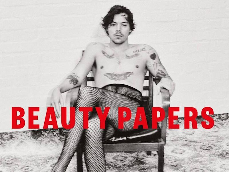 Harry Styles poses in fishnet tights for Beauty Papers magazine