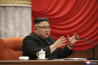 """In this photo provided by the North Korean government, North Korean leader Kim Jong Un speaks during the ruling party congress in Pyongyang, North Korean, Sunday, Jan. 10, 2021. Kim was given a new title, """"general secretary"""" of the ruling Workers' Party, formerly held by his late father and grandfather, state media reported Monday, Jan. 11, in what appears to a symbolic move aimed at bolstering his authority amid growing economic challenges. Independent journalists were not given access to cover the event depicted in this image distributed by the North Korean government. The content of this image is as provided and cannot be independently verified. Korean language watermark on image as provided by source reads: """"KCNA"""" which is the abbreviation for Korean Central News Agency. (Korean Central News Agency/Korea News Service via AP)"""