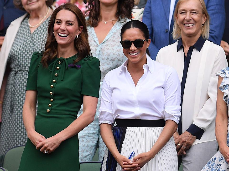 <p>Catherine, Duchess of Cambridge, Meghan, Duchess of Sussex and Pippa Middleton react in the Royal Box after the Ladies' Singles final against during Day twelve of The Championships - Wimbledon 2019 at All England Lawn Tennis and Croquet Club on 13 July 2019 in London, England</p> ((Getty Images))