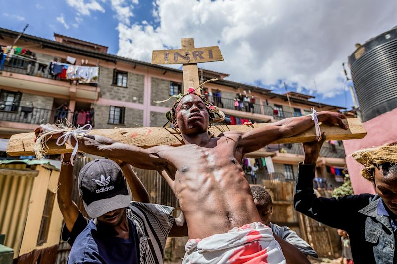 A man portrays Jesus in Kibera, Nairobi, on Good Friday. (BRIAN OTIENO via Getty Images)