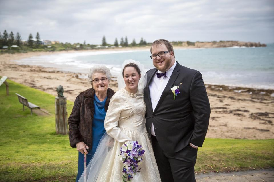Skye on her wedding day in her grandmother's dress pictured with her grandma