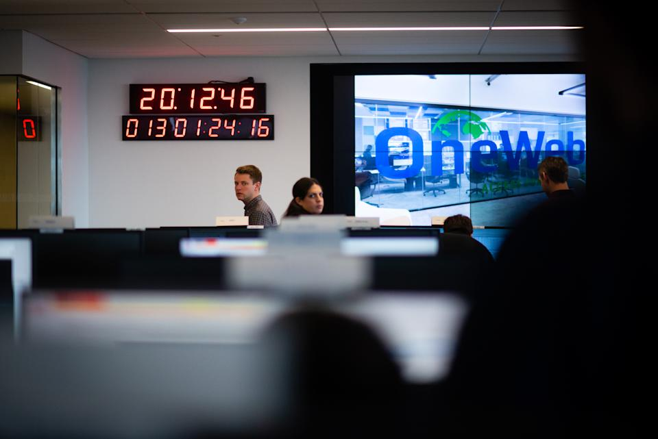 MCLEAN, VA - FEBRUARY 13: OneWeb's satellite operations center is pictured in their Tysons office. OneWeb wants to launch a constellation of thousands of satellites to beam the internet to remote parts of the world, connecting the 4 billion people who don't have broadband access. The first launch date is February 26, 2019. (Photo by Sarah L. Voisin/The Washington Post via Getty Images)