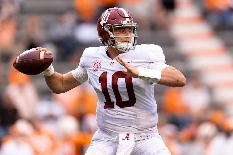 Alabama QB Mac Jones must show he can keep up his torrid pace, but the early returns are impressive. (Photo by Andrew Ferguson/Collegiate Images/Getty Images)