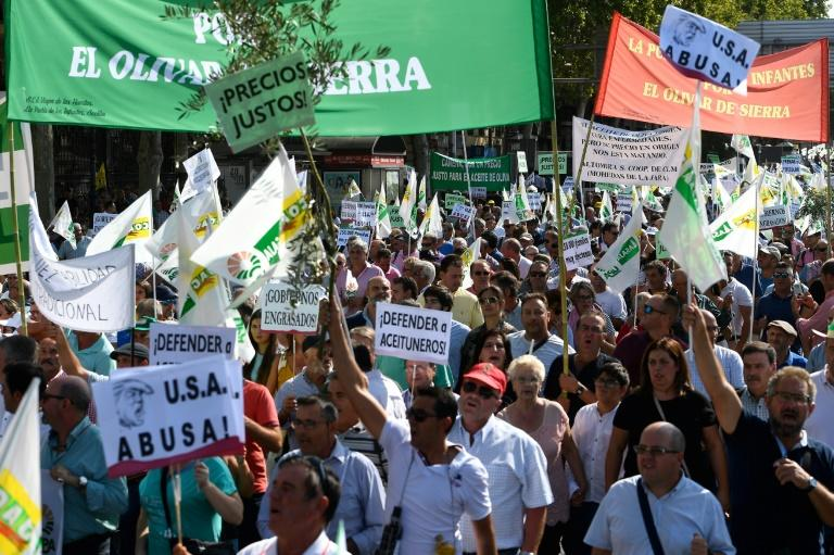 Thousands of olive growers, many waving olive branches, protested in Madrid on Thursday against the impending tariffs (AFP Photo/PIERRE-PHILIPPE MARCOU)
